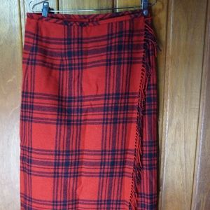 Eddie Bauer Red and Black Checkers Long Skirt Wool